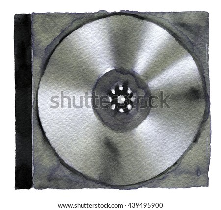 watercolor sketch of DVD or CD disc on a white background - stock photo