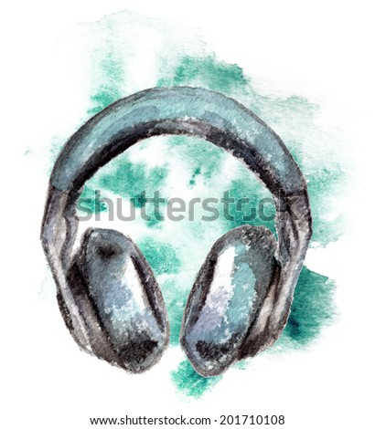 watercolor sketch of headphones on a white background - stock photo