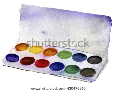 watercolor sketch of paints on a white background - stock photo