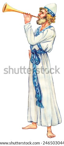 "Watercolor sketch of series ""Character of Palestine"". Jewry historic servant of  tabernacle worship isolated on white background. Dressed in ephod with belt young bearded Kohen glorify God holy chants"