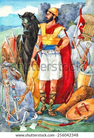 """Watercolor sketch of series """"Characters of Palestine"""". Jewry historic bible figure with armament on battlefield. Proud combat in red cape, tunic, golden helm and armour, armed copper sheath and board - stock photo"""