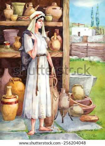 "Watercolor sketch of series ""Characters of Palestine"". Jewry historic figure dressed in sackcloth female. Sad tired young maidservant with wineskin in storage pitchers with pots on shelves - stock photo"