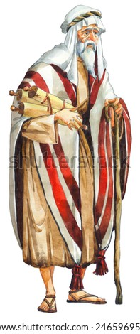 "Watercolor sketch of series ""Characters of Palestine"". Jewry historic figure wise teacher by holy law. Pious elder in robe, turban, tallith, sandals with megilla and staff isolated on white background - stock photo"