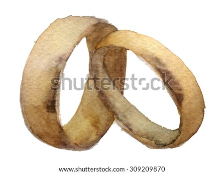 watercolor sketch of the ring on a white background - stock photo
