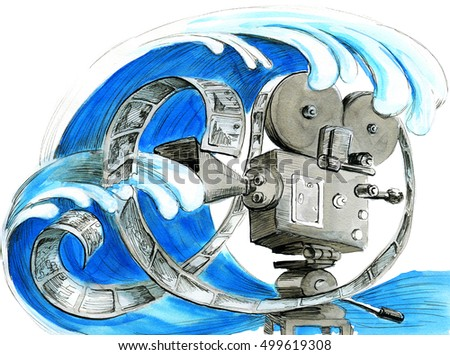 watercolor sketch of video camera with ocean wave