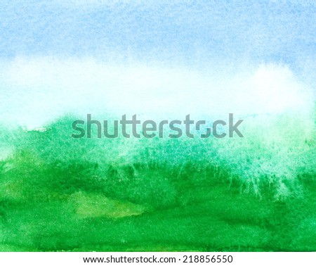 watercolor sky blue and green