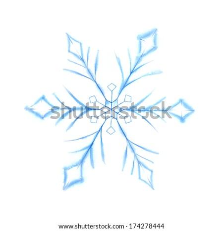 Watercolor Snowflake - stock photo