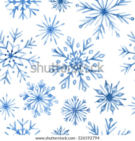 Watercolor snowflakes seamless pattern. Blue snowflakes on a white background. Christmas hand drawn illustrations.  - stock photo
