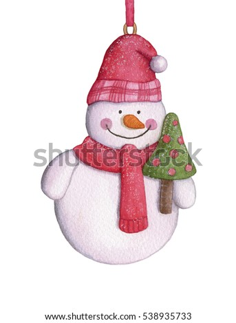 Watercolor snowman with the Christmas tree. Christmas-tree decorations hanging on white background.