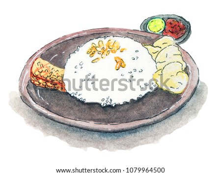 Watercolor Soto Betawi Rice Isolated on White Background. Indonesian Food Illustration