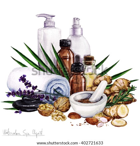 Watercolor Spa Clipart Collection Beauty Stock Illustration