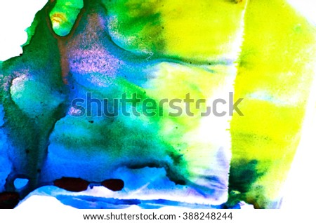 Watercolor splash. Abstract watercolor. Hand drawn watercolor shape background. Isolated on white background. Hand drawn water ink illustration. Bright blue, green and yellow color. - stock photo