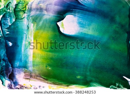 Watercolor splash. Abstract watercolor. Hand drawn watercolor shape background. Isolated on white background. Hand drawn water ink illustration. Bright blue, green violet and yellow color.