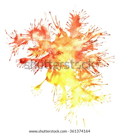 Watercolor splash colorful stain isolated on white background texture