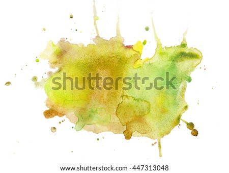 Watercolor spot abstract background, yellow abstract background