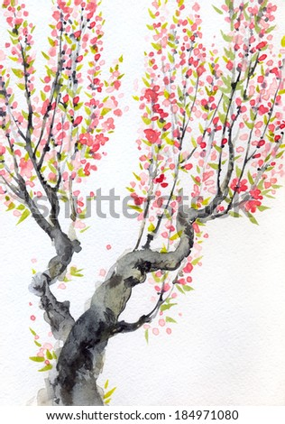 Watercolor spring background in Japanese style. Delicate red flowers on the branches of an old tree - stock photo
