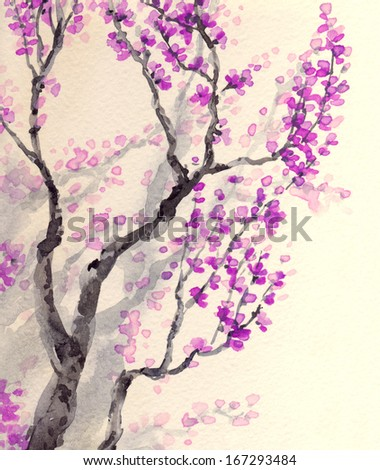 Watercolor spring background in Japanese style. The bright purple flowers and buds on the branches of an old tree  - stock photo