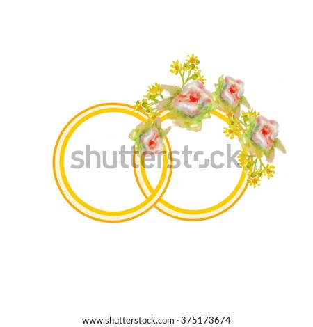 Watercolor spring bouquet. Fresh flowers and branches with green leaves. Invitation to the wedding, celebration, holiday, birthday card. Floral background. Floral vintage frame. Wedding rings - stock photo
