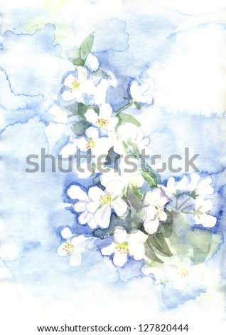 watercolor spring flowers - stock photo