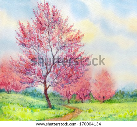 Watercolor spring landscape. Flowering tree in a field beside the path - stock photo