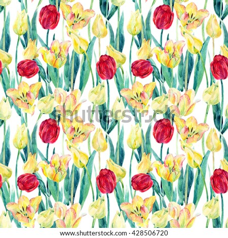 Watercolor spring tulips field seamless pattern. Blooming tulips season in Holland. Watercolor floral seamless pattern on white background. Hand painted illustration nature inspired - stock photo