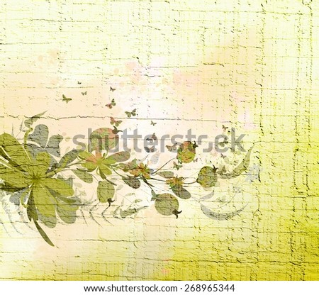 watercolor spring with Flower - stock photo
