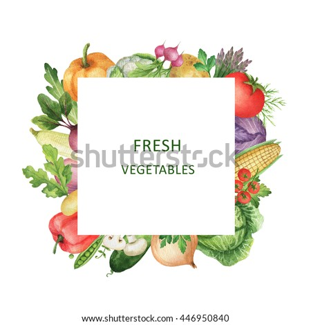 Watercolor square frame with fresh vegetables. Design element for a healthy lifestyle, diet menu and eco food. Place for your text. - stock photo