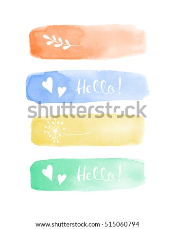 Watercolor stains elements for design with hello lettering, hearts and plants. Orange, blue, mint and yellow pastel colors