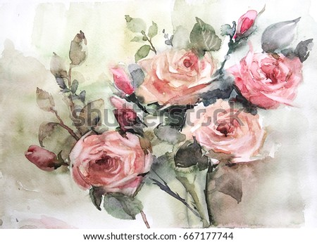 Watercolor Still Life Flowers Dishes Fruit Be Used For Design Books Album
