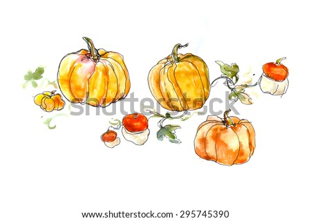 watercolor still life of a pumpkin with leaves  - stock photo