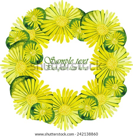 Watercolor succulent. Floral template - stock photo