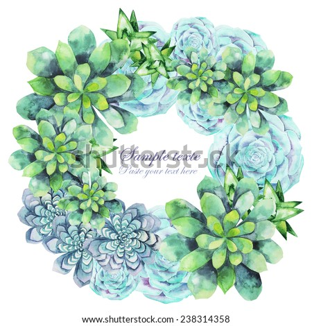 Watercolor succulent wreath. Round frame for text - stock photo