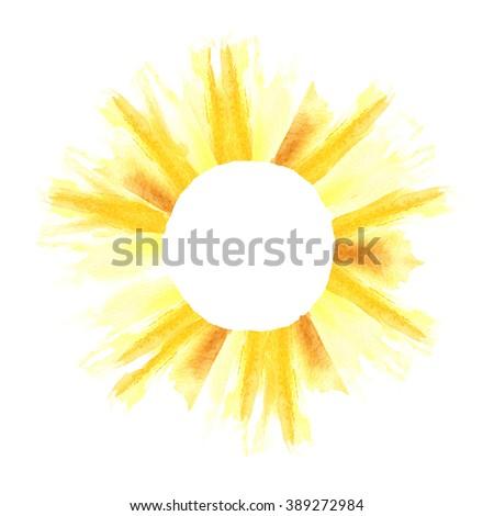 Watercolor summer frame. Sun background. Sun shape border. Decorative element. Copyspace - stock photo