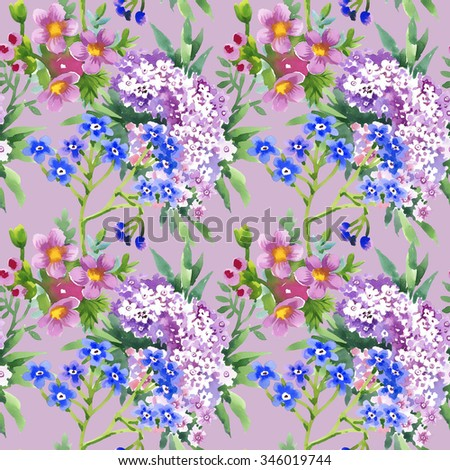 Watercolor summer garden blooming flowers seamless pattern on violet background