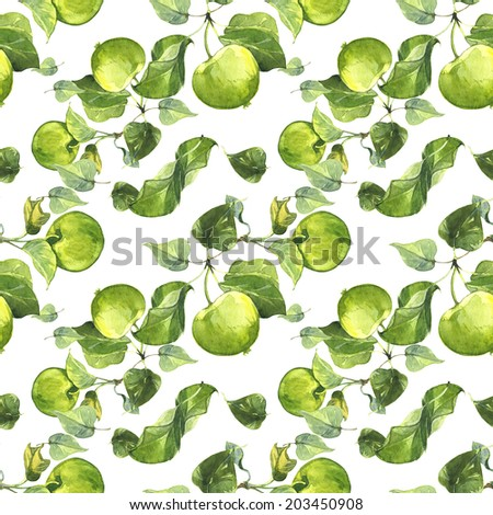 Watercolor summer green yellow apples pattern set