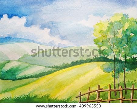 Watercolor summer landscape. Field, tree. - stock photo