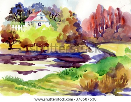 Watercolor summer rural landscape with trees at countryside