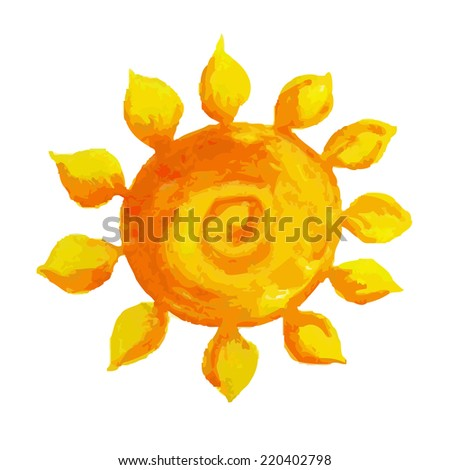 Watercolor Sun - stock photo