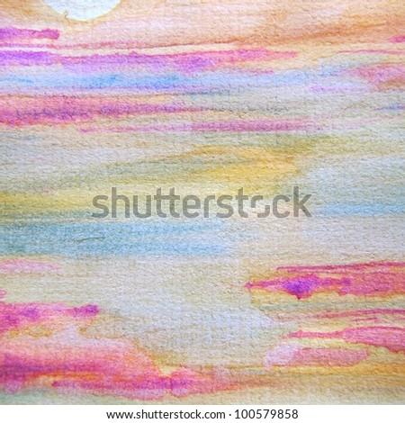 Watercolor Sunset 3 - stock photo
