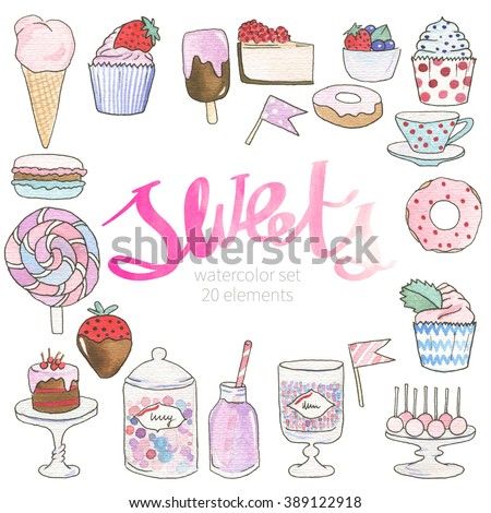 Watercolor sweets, desserts. Hand painted in pastel colors. Decorative elements of candy bar: ice cream (cone, popsicle), cupcakes, cheesecake, donut, fresh fruits, cup, popcake, cake, drink, lollipop - stock photo