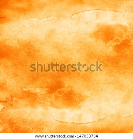 Watercolor texture background. Paintbrush hand made technique. Yellow orange abstract aquarelle backdrop pictured. Image of square format  - stock photo