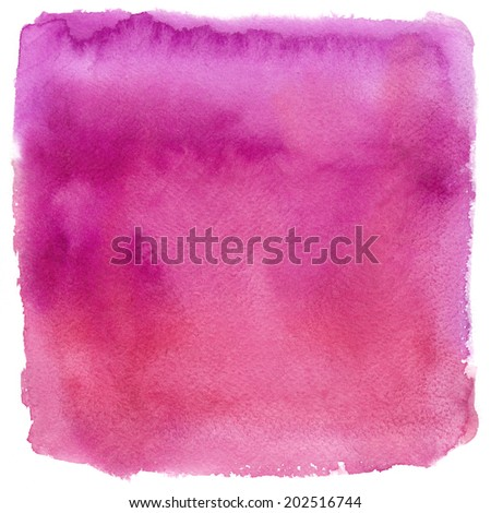 Watercolor texture on white background, square, pink, red - stock photo