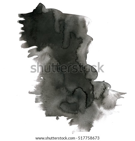 watercolor textured backdrop, abstract watercolor hand paint texture, black isolated on white background, watercolor drop