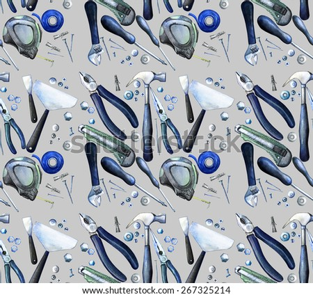 Watercolor tools: cutter, screwdriver, pliers, adjustable wrench, bolt, screw, nut, scotch tape, measuring tape, hammer, dowel nail. Seamless pattern - stock photo