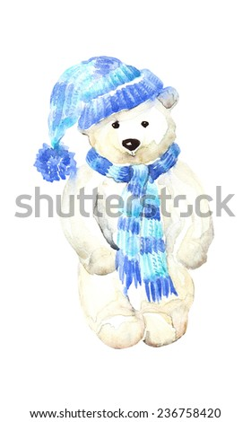 Watercolor toy funny white bear, hand painted illustration. - stock photo