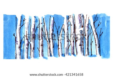 Watercolor tree trunk with branches background. Blue sky, birch tree, forest illustration. Hand drawn vintage nature design for retro painting invitation, postcard, greeting card, fabric.