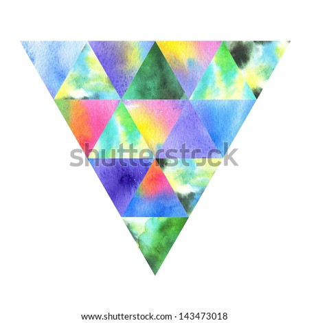 Watercolor triangle. Modern raster background. Colorful texture in hipster style. - stock photo