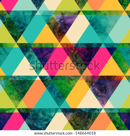 Watercolor triangles seamless pattern. Modern hipster seamless pattern. Colorful texture in hipster style. Geometry template. Grunge pattern.Retro triangle background. Bright pattern.  - stock photo
