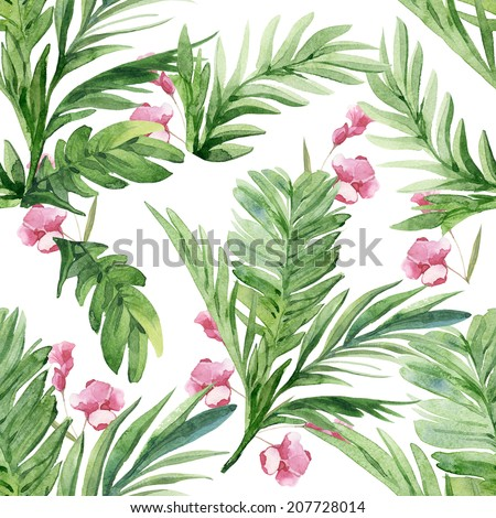 Watercolor tropical colorful travel palm and bamboo tree leaves pattern set with flowers - stock photo