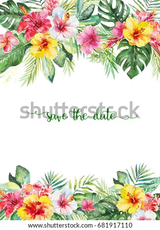 watercolor tropical floral illustration flower leaf stock rh shutterstock com Summer or Hawaii Clip Art Butterflies Border Clip Art Hummingbirds